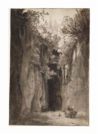 the grotto of virgil near posillipo by cornelis van poelenburgh