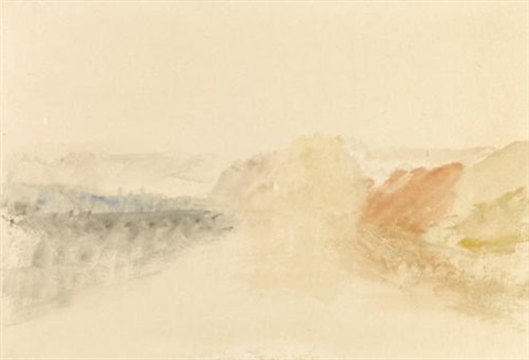 river scene fort on a rock above a river by joseph mallord william turner