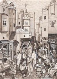 scène de rue animée by mohammed racim