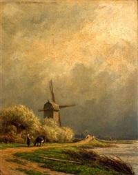 landschap met koeherderin bij een molen by adrianus van everdingen
