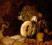 still life of grapes, pumpkins, pears and plums on a wicker matt by c. cook