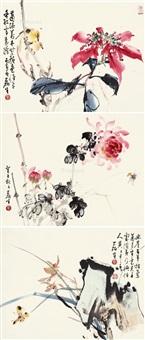 花鸟 (3 works) by huang leisheng