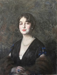 portrait d'homme - portrait de femme (2 works) by leopold pilichowski