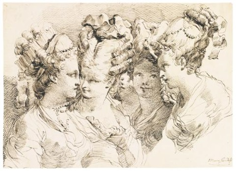 study of five young women head and shoulders with elaborately dressed hair by gaetano gandolfi