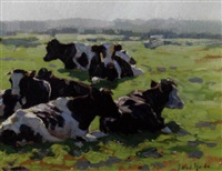 cows in a sunlit meadow by johannes wilhelm van der heide
