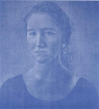 portrait de femme bleue by franz gertsch