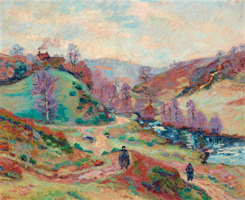 landskap med två figurer by armand guillaumin