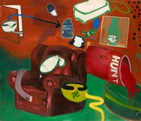 lunch time in the bathroom, living room by peter saul
