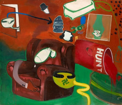 lunch time in the bathroom living room by peter saul