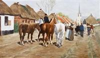 horses in a village by frans van leemputten