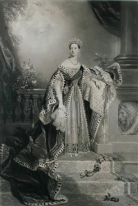 portrait of queen victoria on her coronation (after alfred edward chalon) by samuel cousins