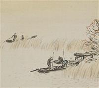 fishing in the evening by gyokudo kawai