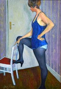 femme au caraco bleu by jean pesce