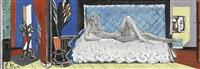 interieur mit liegendem weiblichem akt by albert (lindegger) lindi