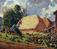 farmstead with workers and haystacks by thomas w. armes