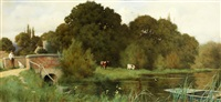 a pastoral river scene by george marks