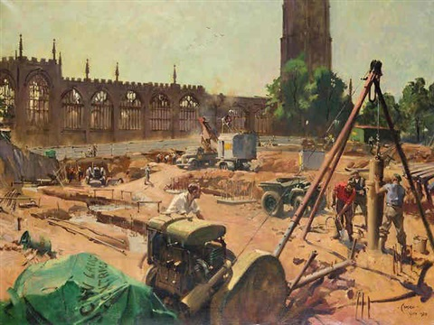 early stages of construction of the new cathedral church of st michael coventry by terence cuneo