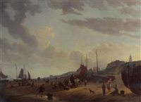 busy fisherfolk and townsfolk on scheveningen beach in the afternoon by abraham-johannes couwenberg