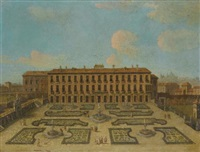 view of a palace, possibly the palacio riofrio in segovia, with figures promenading in the formal gardens by francesco battaglioli