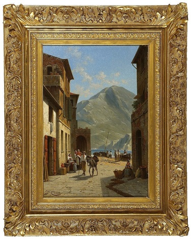 port town with figures on a street by jacques françois carabain