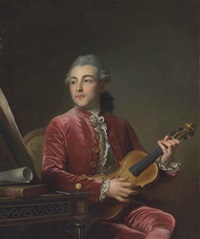 portrait of a gentleman, half-length, seated in a red velvet jacket with a violin by guillaume voiriot