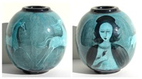 woman with birds and horse - vase by polia pillin