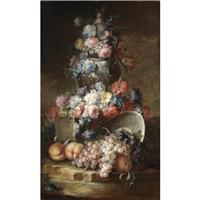 nature morte con vasi di fiori e frutta (pair) by vittorio amedeo rapous