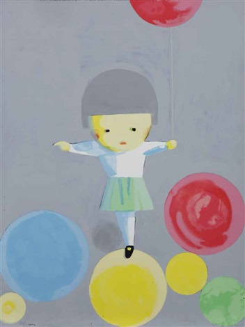 little girl with balloons 2 works by liu ye