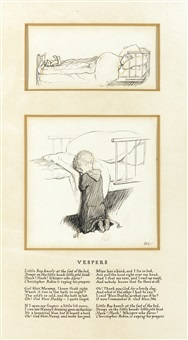 two drawings for vespers (2 works) by ernest h. shepard