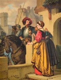 scène médiévale by wilhelm (guillaume) koller