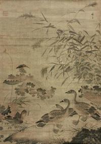秋塘芦雁 by lin liang