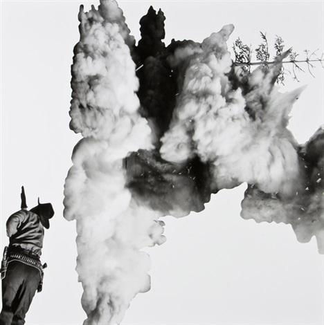 smoke, tree, shadow and person by john baldessari
