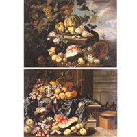 an interior with a still life of peaches, grapes, plums, a melon and flowers, on a stone ledge draped with an embroidered tablecloth (+ a landscape with a still life; pair) by master of the floridiana