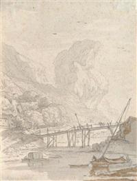 a rocky landscape with a wooden boat by hendrick van der straaten