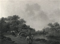 a dutch river scene with a horseman, drover and cattle by henry milbourne