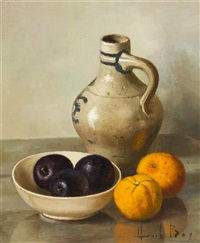 still life with fruit and jug by henk bos