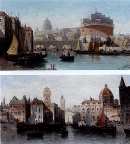 castel santangelo rome a venetian capriccio pair by h garnier
