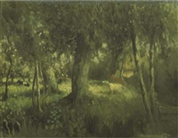 cows amongst trees by henri van daalhoff