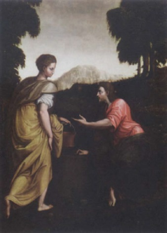 christ and the woman of samaria by luca romano penni