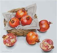 pomegranates in a basket by patricia jorgensen