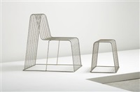 wire frame chair and ottoman by shin azumi