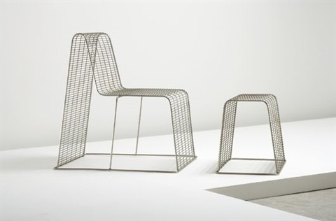 High Quality Wire Frame Chair And Ottoman By Shin Azumi