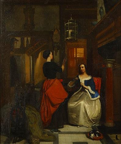 twee jonge dames in een interieur by hubertus van hove