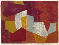 composition in carmine-red, brown, yellow and grey by serge poliakoff