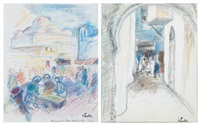 foule sur la place bab souika (+ ruelle dans la kasbah de tunis; 2 works) by henri saada