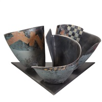 three vessels on a base by bennett bean