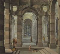 interior of a baroque church with a friar and peasants by dirck van delen and cornelis van poelenburgh