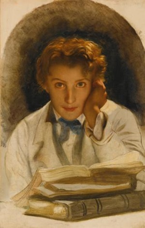 portrait of joseph carle paul horace delaroche son of the artist half length with a pile of books by paul hippolyte delaroche
