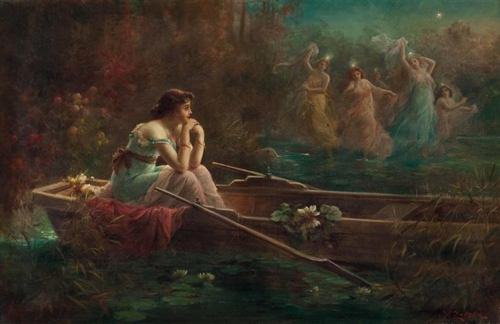 der traum einer dame im boot der elfenreigen by hans zatzka