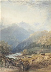 cattle grazing beneath ben lomond by copley fielding